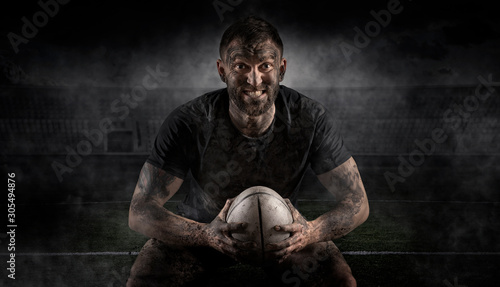 Fotografie, Obraz Handsome rugby player in action