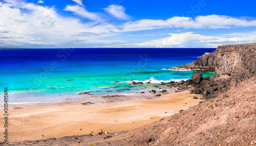 best beaches of Fuerteventura island - deserted El Cotillo in north of island. Canary islands of Spain