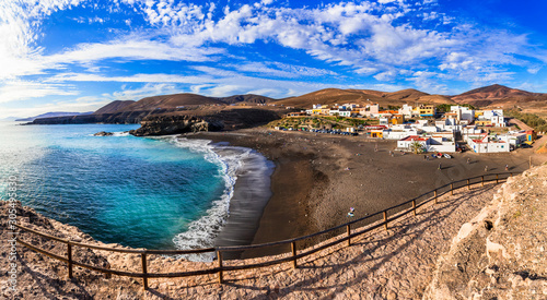 Fuerteventura - picturesque traditional fishing village Ajui, with black sand beaches. Canary islands