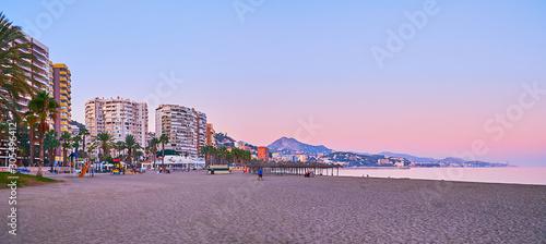 Foto auf AluDibond Rosa hell Evening panorama of Malaga coast, Spain