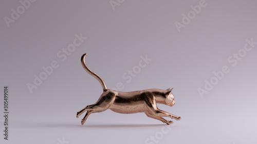 Bronze Cat Running Pose 3d Wallpaper Mural