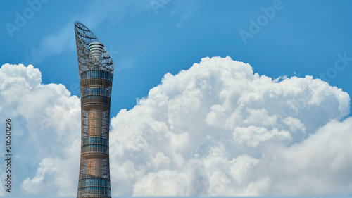 Aspire Tower, nicknamed Torch Doha, located in the Aspire Zone complex near the Wallpaper Mural