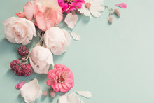 Summer Flowers On Green Paper Background