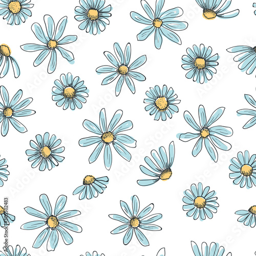 Hand drawn seamless vector pattern with chamomile flowers Poster Mural XXL