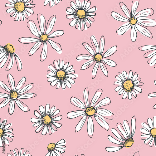 Stampa su Tela Hand drawn seamless vector pattern with chamomile flowers