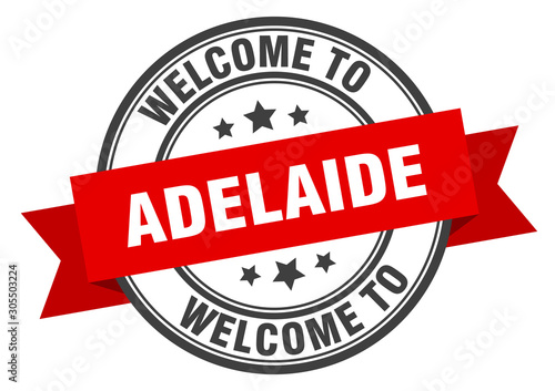 Photo Adelaide stamp. welcome to Adelaide red sign