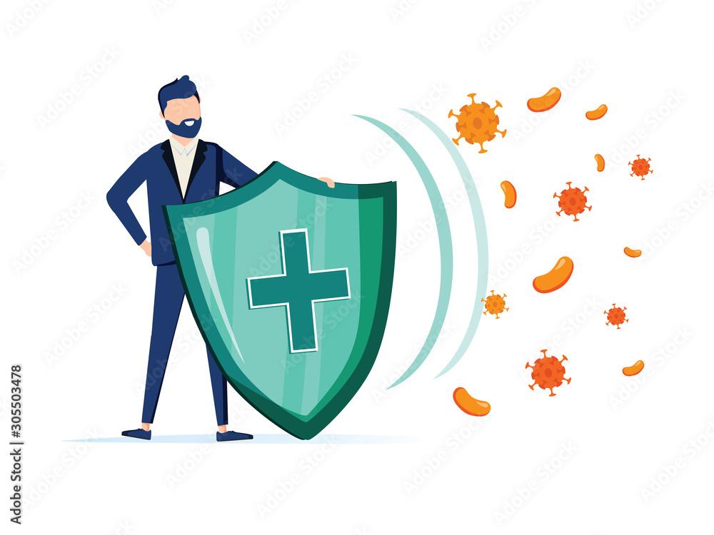 Fototapeta Immune system vector icon logo. Health bacteria virus protection. Medical prevention human germ. Man reflect bacteria
