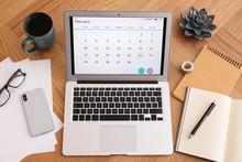 Modern Laptop With Calendar On...