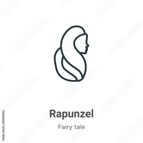 Rapunzel outline vector icon Wallpaper Mural