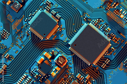 Fotomural Electronic circuit board close up.