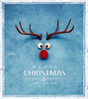 canvas print picture - Christmas Reindeer with red cold nose on blue background 3D Rendering
