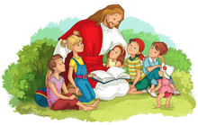 Jesus Reading The Bible With Children Isolated On White. Vector Cartoon Christian Illustration