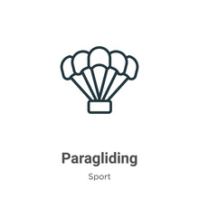 Paragliding Outline Vector Ico...
