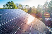 Solar Panels And Sunlight Refl...