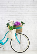 Retro Bike With Wildflowers An...