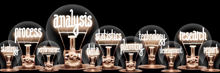 Light Bulbs with Analysis Concept