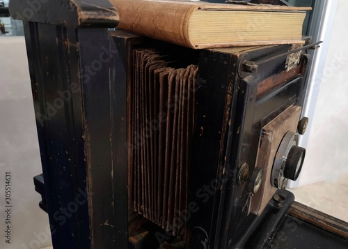 details of old bellows camera Canvas Print