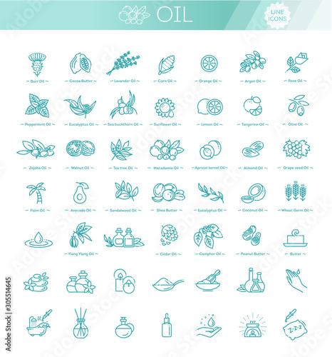 Vector set of natural ingredients and oils for cosmetics in linear style Tablou Canvas