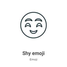 Shy Emoji Outline Vector Icon....