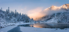 Sunrise In Winter Mountains. M...