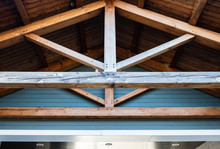 Wooden Roof Rafter Beams. Architectural Detail And Design.