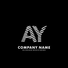 Initial Letter AY Zebra Style Wood Texture Template Logo
