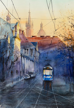 Blue Tram At Sunset With Maria...