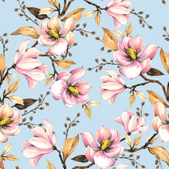 Fototapeta Inspiracje na wiosnę Seamless pattern with magnolias. Floral illustration . Hand drawing, watercolor. Design wallpaper, fabric and packaging