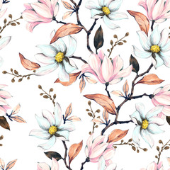 Fototapeta Inspiracje na wiosnę Seamless pattern with magnolias. Floral illustration on a white background. Hand drawing, watercolor. Design wallpaper, fabric and packaging