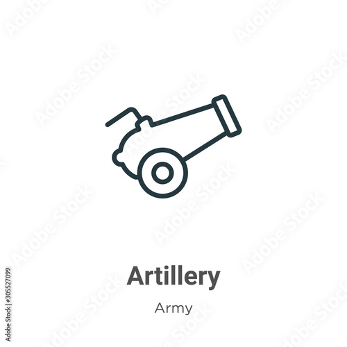 Artillery outline vector icon Canvas Print