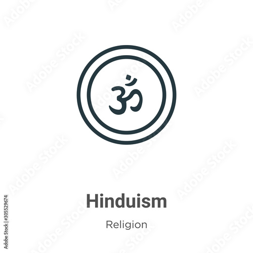 Hinduism outline vector icon. Thin line black hinduism icon, flat vector simple element illustration from editable religion concept isolated on white background