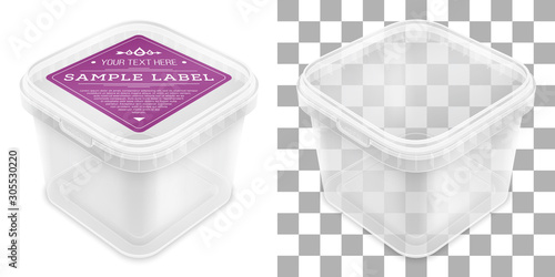 Photo Vector transparent square empty plastic bucket with label