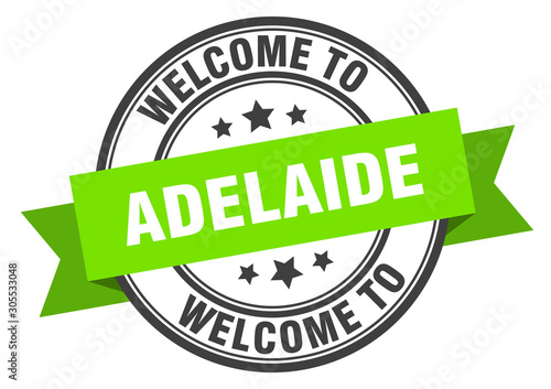 Adelaide stamp. welcome to Adelaide green sign Canvas Print