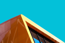 Orange Decorative Facade Panels For Exterior Cladding. Abstract Architecture Photography. Minimal Aesthetic.