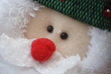 Soft Toy Santa Claus Face With Red Nose, Close Up.