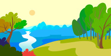 Cartoon Style Landscape With F...