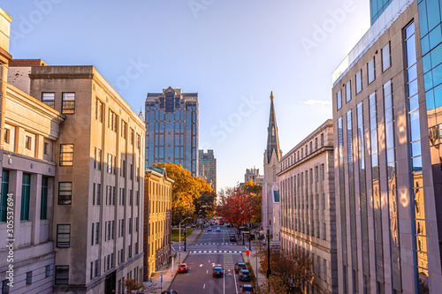 View of Downtown Raleigh at North Salisbury Street in fall season at sunset time,North Carolina,USA.