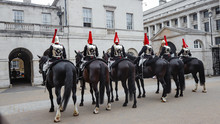 The Queens Royal Horse Guards Parade At Horse Guards In Whitehall, London.