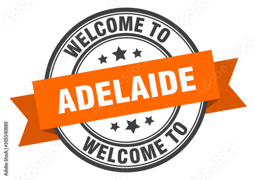 Adelaide stamp. welcome to Adelaide orange sign Wallpaper Mural