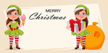 Cheerful Girl In Costume Of Elf