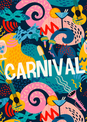 Vector poster with carnival objects and abstract shapes.