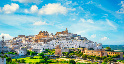 Ostuni white town skyline at sunset, Brindisi, Apulia, Italy. Canvas Print