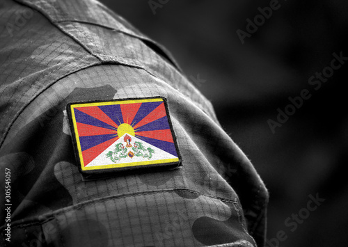 Photo Flag of Tibet on military uniform