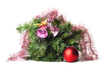 Fir Branches Decorated With Ne...