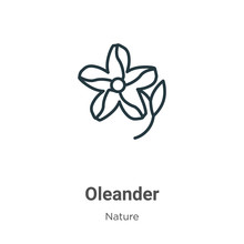 Oleander Outline Vector Icon. Thin Line Black Oleander Icon, Flat Vector Simple Element Illustration From Editable Nature Concept Isolated On White Background