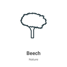 Beech Outline Vector Icon. Thi...