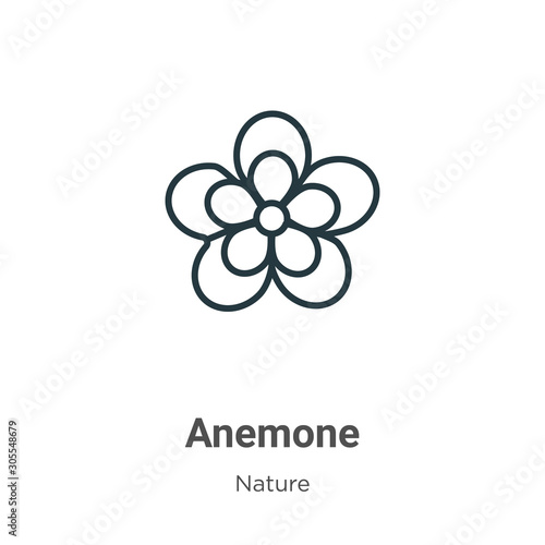 Cuadros en Lienzo Anemone outline vector icon