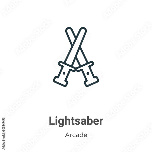 Photo Lightsaber outline vector icon