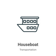Houseboat Outline Vector Icon. Thin Line Black Houseboat Icon, Flat Vector Simple Element Illustration From Editable Transportation Concept Isolated On White Background