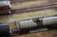 Model Of Train Tank On Rails.